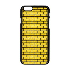 Brick1 Black Marble & Yellow Colored Pencil Apple Iphone 6/6s Black Enamel Case