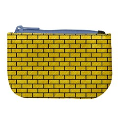 Brick1 Black Marble & Yellow Colored Pencil Large Coin Purse