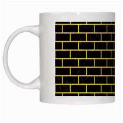 Brick1 Black Marble & Yellow Colored Pencil (r) White Mugs