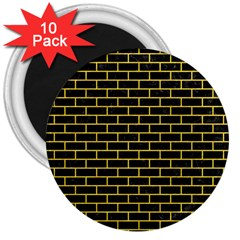 Brick1 Black Marble & Yellow Colored Pencil (r) 3  Magnets (10 Pack)
