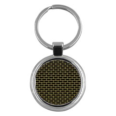 Brick1 Black Marble & Yellow Colored Pencil (r) Key Chains (round)