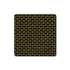 Brick1 Black Marble & Yellow Colored Pencil (r) Square Magnet