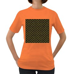 Brick1 Black Marble & Yellow Colored Pencil (r) Women s Dark T Shirt