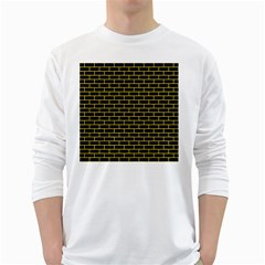 Brick1 Black Marble & Yellow Colored Pencil (r) White Long Sleeve T Shirts