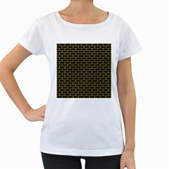 Brick1 Black Marble & Yellow Colored Pencil (r) Women s Loose Fit T Shirt (white)