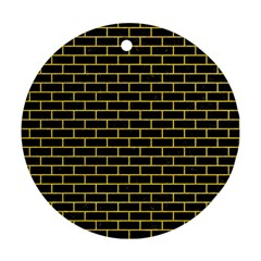 Brick1 Black Marble & Yellow Colored Pencil (r) Round Ornament (two Sides)
