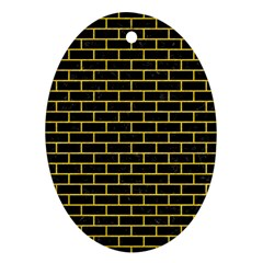 Brick1 Black Marble & Yellow Colored Pencil (r) Oval Ornament (two Sides)