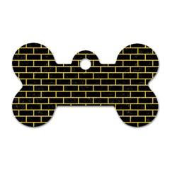 Brick1 Black Marble & Yellow Colored Pencil (r) Dog Tag Bone (one Side)