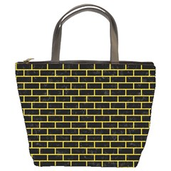 Brick1 Black Marble & Yellow Colored Pencil (r) Bucket Bags