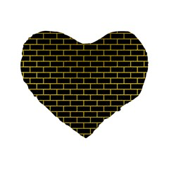 Brick1 Black Marble & Yellow Colored Pencil (r) Standard 16  Premium Heart Shape Cushions