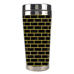 Brick1 Black Marble & Yellow Colored Pencil (r) Stainless Steel Travel Tumblers