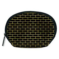 Brick1 Black Marble & Yellow Colored Pencil (r) Accessory Pouches (medium)