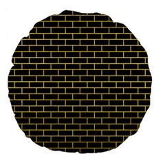 Brick1 Black Marble & Yellow Colored Pencil (r) Large 18  Premium Flano Round Cushions