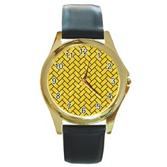 Brick2 Black Marble & Yellow Colored Pencil Round Gold Metal Watch