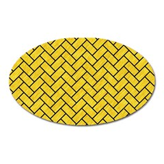 Brick2 Black Marble & Yellow Colored Pencil Oval Magnet
