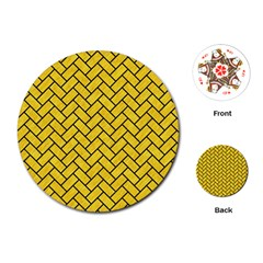 Brick2 Black Marble & Yellow Colored Pencil Playing Cards (round)