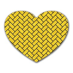 Brick2 Black Marble & Yellow Colored Pencil Heart Mousepads