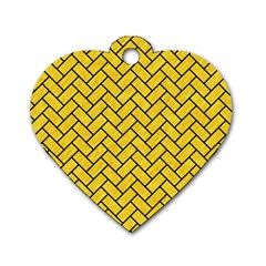 Brick2 Black Marble & Yellow Colored Pencil Dog Tag Heart (two Sides)
