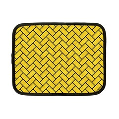 Brick2 Black Marble & Yellow Colored Pencil Netbook Case (small)