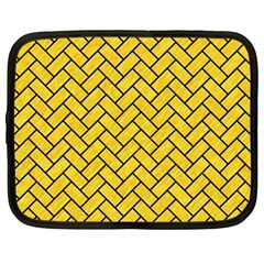Brick2 Black Marble & Yellow Colored Pencil Netbook Case (large)