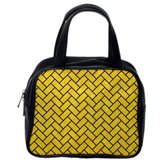 Brick2 Black Marble & Yellow Colored Pencil Classic Handbags (one Side)