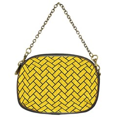 Brick2 Black Marble & Yellow Colored Pencil Chain Purses (one Side)