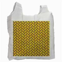 Brick2 Black Marble & Yellow Colored Pencil Recycle Bag (one Side)