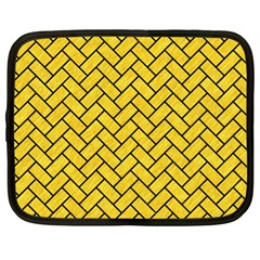 Brick2 Black Marble & Yellow Colored Pencil Netbook Case (xl)