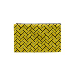 Brick2 Black Marble & Yellow Colored Pencil Cosmetic Bag (small)