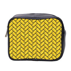 Brick2 Black Marble & Yellow Colored Pencil Mini Toiletries Bag 2 Side