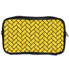 Brick2 Black Marble & Yellow Colored Pencil Toiletries Bags