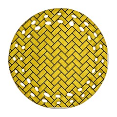 Brick2 Black Marble & Yellow Colored Pencil Round Filigree Ornament (two Sides)