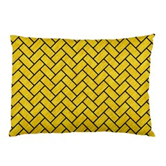 Brick2 Black Marble & Yellow Colored Pencil Pillow Case (two Sides)