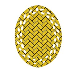 Brick2 Black Marble & Yellow Colored Pencil Oval Filigree Ornament (two Sides)