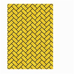Brick2 Black Marble & Yellow Colored Pencil Large Garden Flag (two Sides)