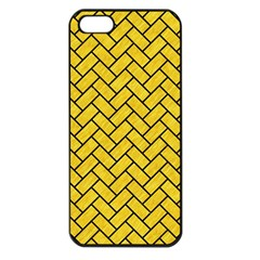 Brick2 Black Marble & Yellow Colored Pencil Apple Iphone 5 Seamless Case (black)