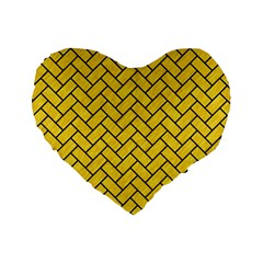 Brick2 Black Marble & Yellow Colored Pencil Standard 16  Premium Heart Shape Cushions