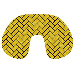 Brick2 Black Marble & Yellow Colored Pencil Travel Neck Pillows