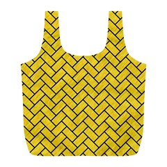 Brick2 Black Marble & Yellow Colored Pencil Full Print Recycle Bags (l)