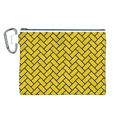 Brick2 Black Marble & Yellow Colored Pencil Canvas Cosmetic Bag (l)