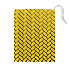 Brick2 Black Marble & Yellow Colored Pencil Drawstring Pouches (extra Large)