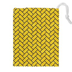 Brick2 Black Marble & Yellow Colored Pencil Drawstring Pouches (xxl)