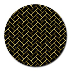 Brick2 Black Marble & Yellow Colored Pencil (r) Round Mousepads