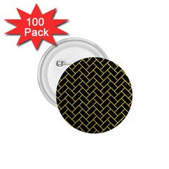 Brick2 Black Marble & Yellow Colored Pencil (r) 1 75  Buttons (100 Pack)