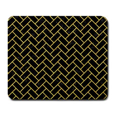 Brick2 Black Marble & Yellow Colored Pencil (r) Large Mousepads