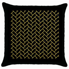 Brick2 Black Marble & Yellow Colored Pencil (r) Throw Pillow Case (black)