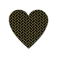 Brick2 Black Marble & Yellow Colored Pencil (r) Heart Magnet
