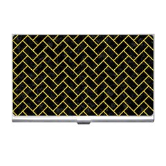 Brick2 Black Marble & Yellow Colored Pencil (r) Business Card Holders