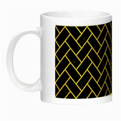 Brick2 Black Marble & Yellow Colored Pencil (r) Night Luminous Mugs