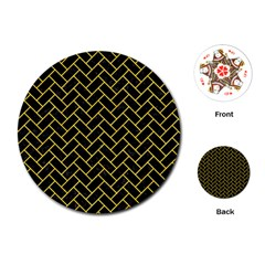 Brick2 Black Marble & Yellow Colored Pencil (r) Playing Cards (round)